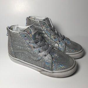 Vans Silver Sneakers sparkly hi tops kids 10